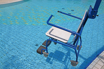 wheelchair for the disabled for use in swimming pool