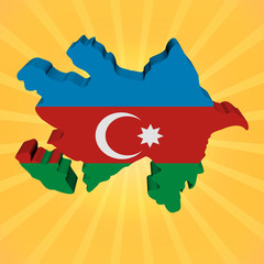 Azerbaijan map flag on sunburst illustration