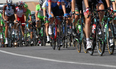 professional cyclists during the climb in a cycling race a lot o