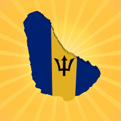 Barbados map flag on sunburst illustration