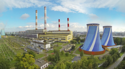 Big territory of power plant at sunny day.