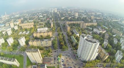 Above view of high buildings in neighborhood.
