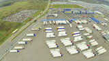 Above view of truck parking. View from unmanned quadrocopter. poster