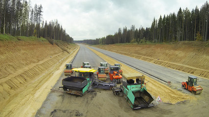 Empty machines on road construction.