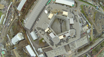 Above view of pentagon shaped building at dull day
