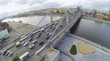 Cars on Krymsky Bridge and panorama of Moscow, Russia.