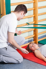 Rehabilitation exercises with physiotherapist