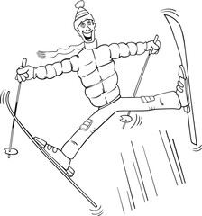 man jump on ski coloring page