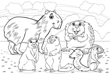 rodents animals cartoon coloring page
