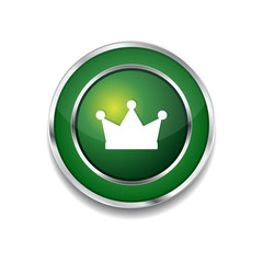 Crown Circular Vector Green Web Icon Button