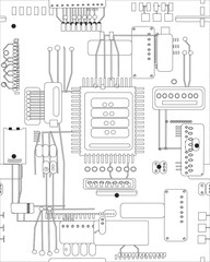 circuit board in black and white