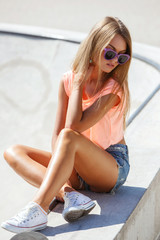 Beautiful girl in shorts