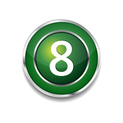 8 Number Circular Vector Green Web Icon Button