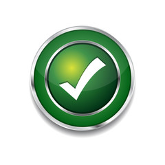 Tick Mark Circular Vector Green Web Icon Button
