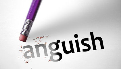 Eraser deleting the word Anguish