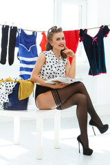 Pinup. Girl in pantyhose