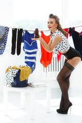 Pinup. Girl in pantyhose