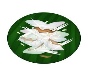 Thai Sticky Rice Cake on Green Banana Leaf