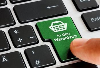 In den Warenkorb - Taste auf Laptop