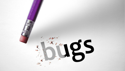 Eraser deleting the word Bugs