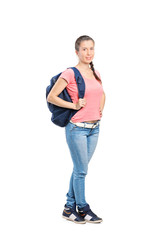 Full length portrait of a schoolgirl with backpack