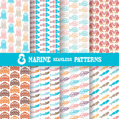 8 marine seamless patterns