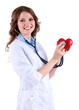 Young beautiful doctor with stethoscope holding heart isolated