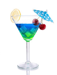 Blue-green gradient Cocktail with design on isolated white