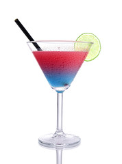 Blue-red  gradient Cocktail with design on isolated white