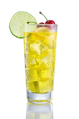 Yellow long Cocktail with lemon and cherry on isolated white