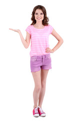 Beautiful young girl in shorts and t-shirt isolated on white