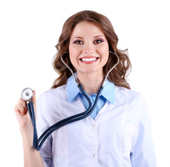 Young beautiful doctor with stethoscope isolated on white