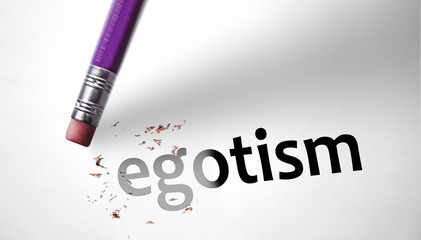 Eraser deleting the word Egotism