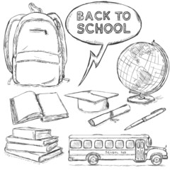 Vector Set of Sketch Education Objects.