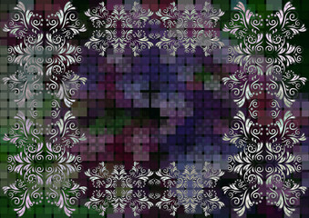 Floral frame on mosaic background