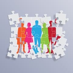 Vector Teamwork Background in puzzle