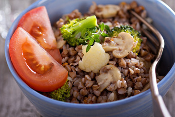 Buckwheat with mushrooms and vegetables