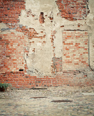 Brick grunge weathered wall background