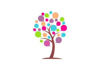 speech bubble tree abstract vector