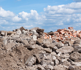 Concrete and brick rubble derbis on construction site
