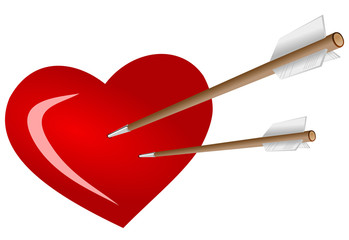 Vector format of two arrows stabbed in heart