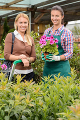 Smiling customer and employee in garden center