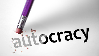 Eraser deleting the word Autocracy