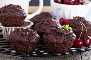Chocolate muffins with cherry