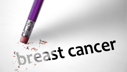 Eraser deleting the phrase Breast Cancer