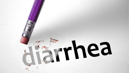 Eraser deleting the word Diarrhea