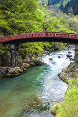 Red sacred bridge Shinkyo in UNESCO site of Nikko, Japan
