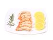 Tasty tiger shrimps on plate.
