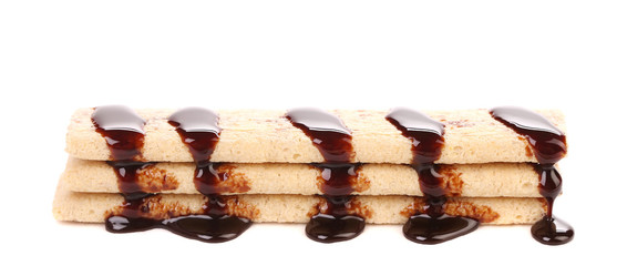 Stake wafers coated of chocolate.