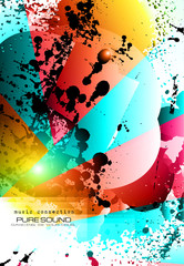 PArty Club Flyer for Music event with Explosion of colors